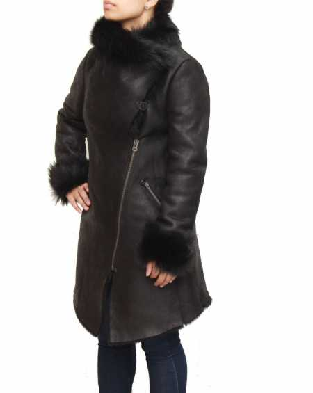 Womens Suede And Sheepskin Hooded Coat