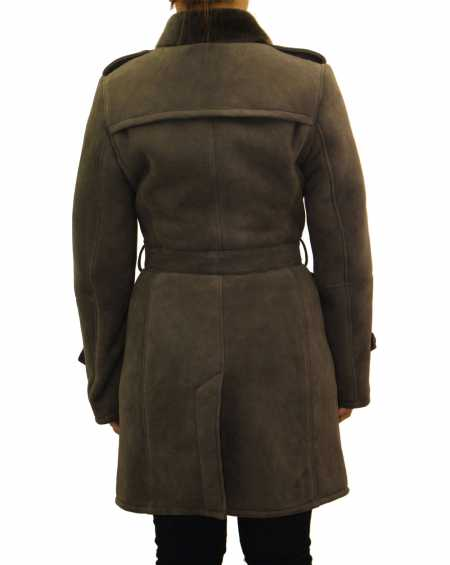 Womens Suede Shearling Sheepskin Winter Trench Coat
