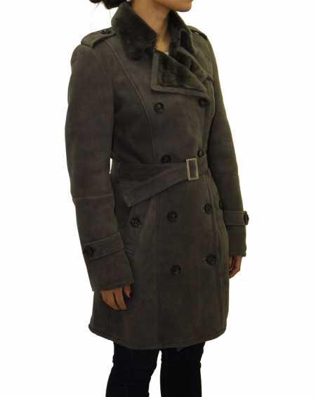Womens Suede Shearling Sheepskin Winter Trench Coat
