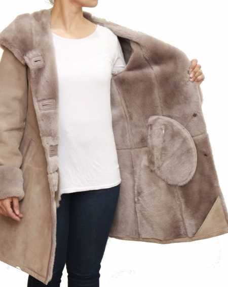 Womens Taupe Luxurious Hooded Coat