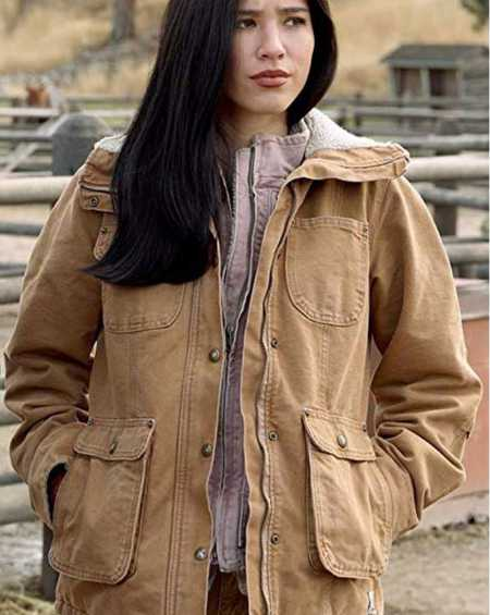 Kelsey Asbille TV Series Yellowstone Brown Jacket