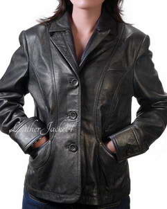 Aberdeen black womens leather blazer