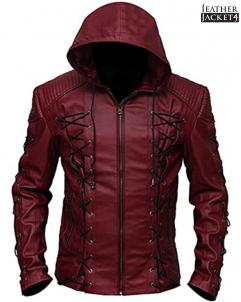 Colton-Haynes Arrow Arsenal Roy Harper Colton Haynes Hooded Faux Leather J