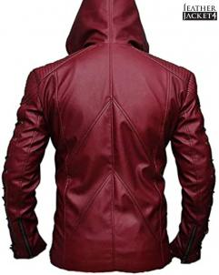Colton-Haynes Arrow Arsenal Roy Harper Colton Haynes Hooded Faux Leather Jacket