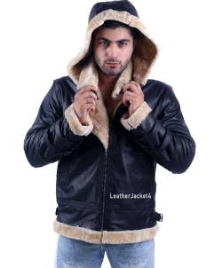 B3 Royal Air Force Hoodie Leather Jacket