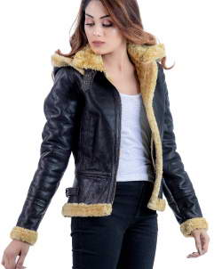 RAF-Women B3 RAF womens faux fur shearling leather jacket