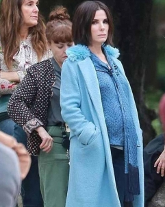 Sandra-Bullock Bird Box Sandra Bullock Blue Coat