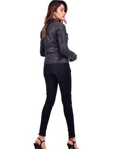 Black Belle Golden Biker Womens Jacket
