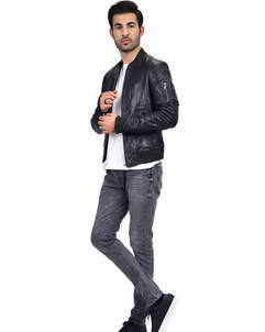 Black Bomber Mens Jacket