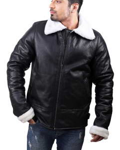 Black-Shearling leather jacket