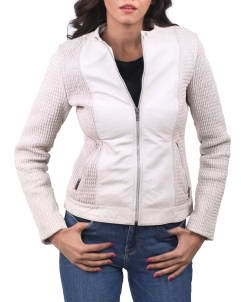 Blanche-Womens Women Leather Jacket White Blanche