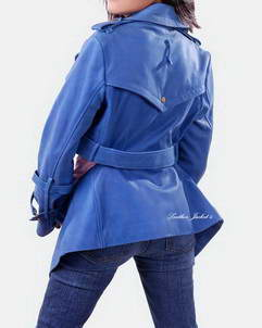 women leather jacket blue