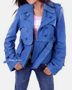 Ruby women leather jacket blue