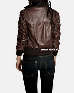 Brown leather jacket womens