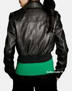 Sleek black leather jacket