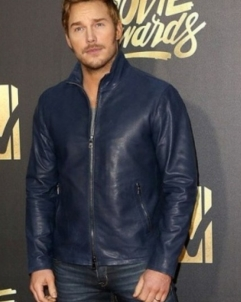 Chris-Pratt Chris Pratt Mtv Dark Blue Leather Jacket