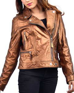 Copper Metallic Womens Leather Jacket