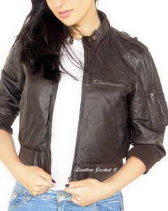 Cropped leather crop jacket