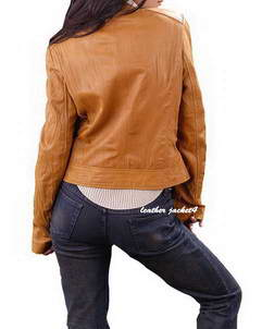 Womens washed leather jacket