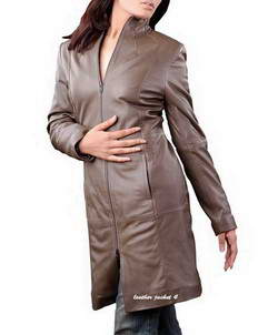 Iowa long leather coat