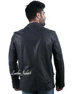 Jason Jason Statham Black Leather Blazer