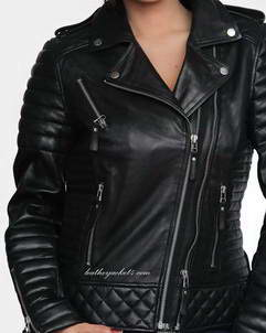 Kay-Michaels Oily black quilted leather jacket worn by popular celebritie
