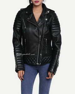 Kay-Michaels diamond quilted biker jacket