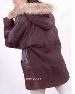 hood fur leather coat