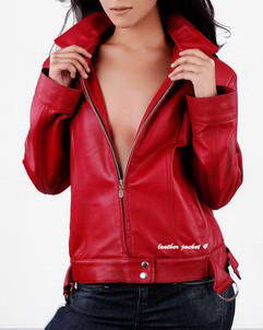 Lauren womens red leather jacket