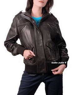 Lira womens leather bomber jacket