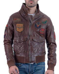 Mens-Bomber USA Air Force Aviator Mens Bomber Leather Jacket