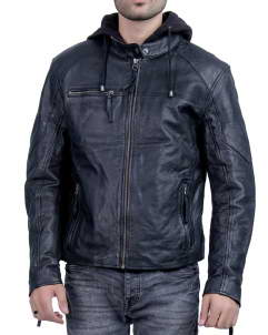 Mens-Hooded leather jacket