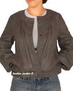 Merriam round neck leather jacket