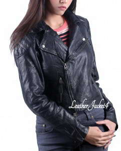 Mist-Biker Basic Black Biker Jacket for women