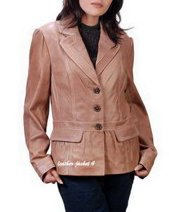 Olivia 3 button womens leather blazer