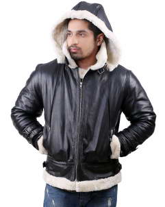 Shearling-Hoodie leather jacket