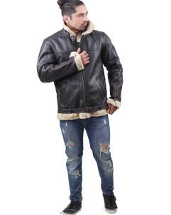 Shearling Faux Fur Shearling Leather Jacket