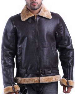 Tom Hardy Dunkirk Farrier Brown Leather Shearling Bomber Jacket