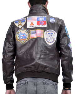 Top Gun G-1 Navy flight leather jacket as worn by Pete Maverick Mitchell in the Top Gun movie