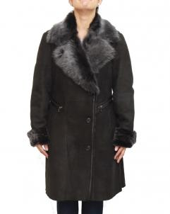 Black-Suede Womens Black Suede Shearling Winter Trench Coat