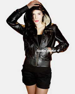 Chambery womens hooded leather jacket