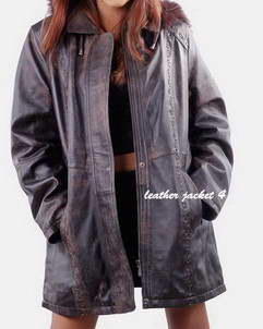 Maria leather coat for womens