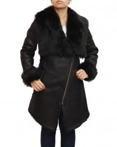 Barbara Womens Suede And Sheepskin Hooded Coat