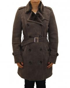 Suede-Coat Womens Suede Shearling Sheepskin Winter Trench Coat