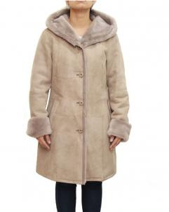 Hooded-Coat Womens Taupe Luxurious Hooded Coat
