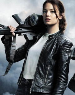 Emma-Stone Zombieland Emma Stone Wichita Black Leather Jacket