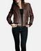Brown leather jacket women