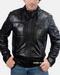 Caleb Mens Black Bomber Leather Jacket