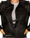 Women button leather jacket