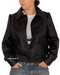Women button leather jacket